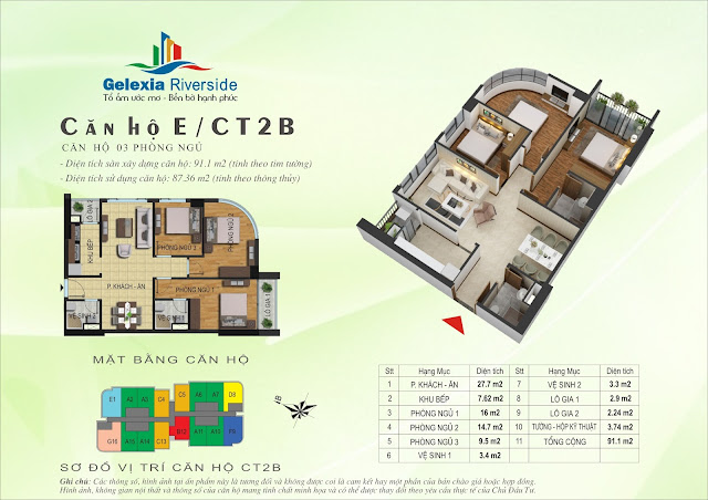 Mặt bằng căn hộ E tòa CT2B - CT3 Gelexia Riverside