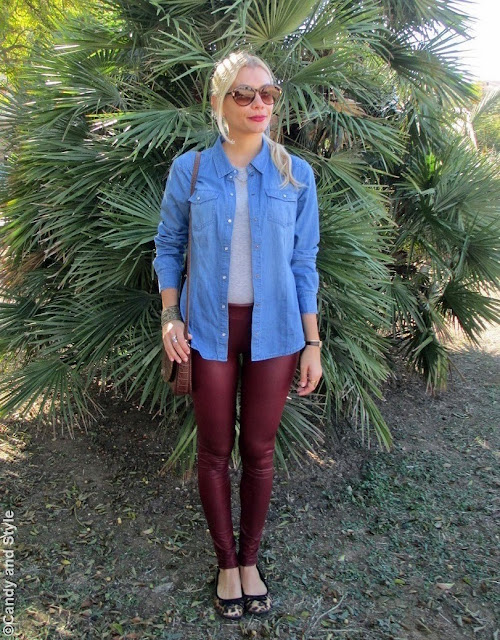 DenimShirt, BurgundyLeggings, LeopardFlats, CrossbodyBag, VintageSunnies - Lilli Candy and Style Fashion Blog