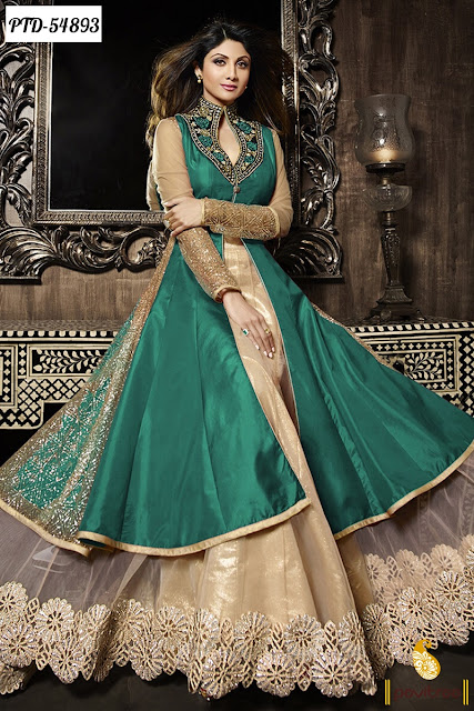 Shilpa Shetty green beige color chiffon designer anarkali salwar suit online shopping with cash on delivery at pavitraa.in