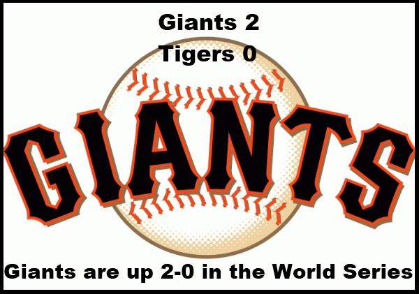 Giants win World Series game 2 over the Tigers 2-0