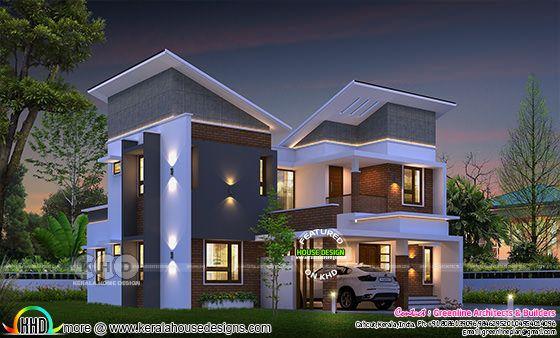 2458 sq-ft slanting roof ultra modern home