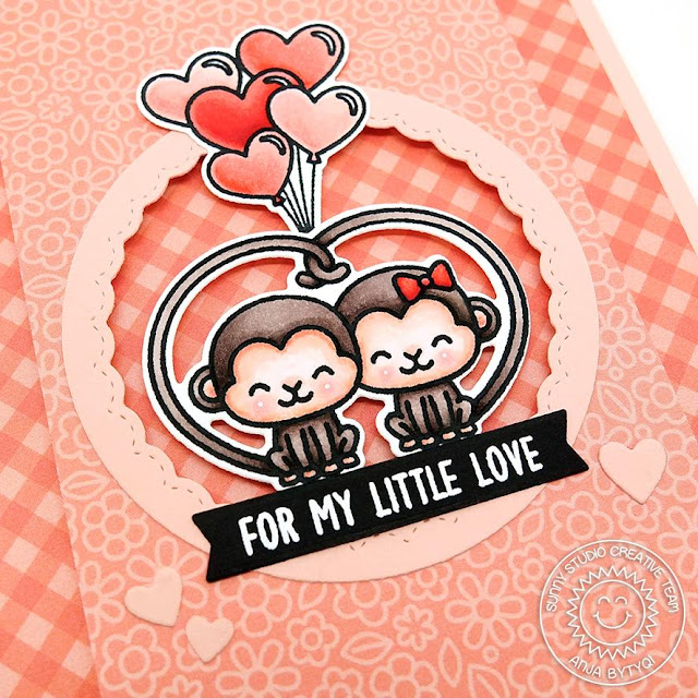 Sunny Studio Stamps: Love Monkey Fancy Frames Circles Love Themed Card by Anja Bytyqi
