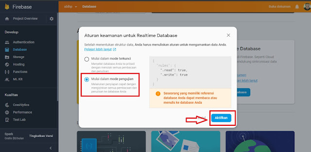 Mengaktifkan mode pengujian firebase untuk view count blogger.