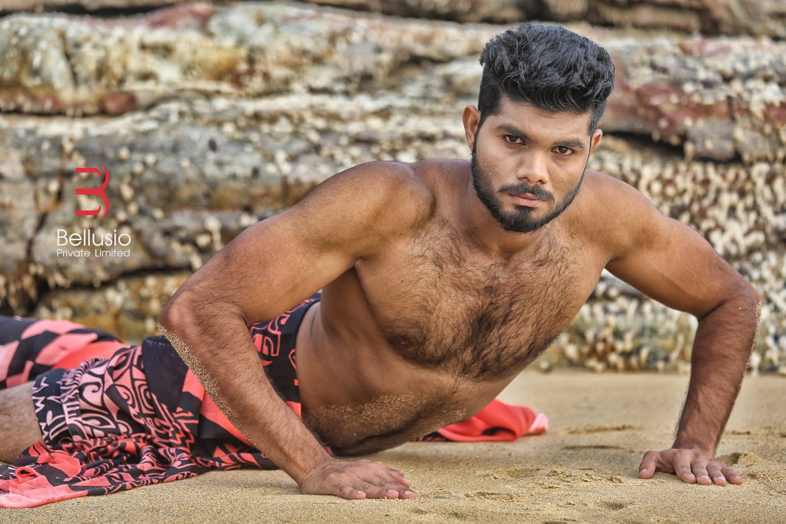 Image of young handsome indian man with hairy chest beard trendy hairstyle hair quiff naked after