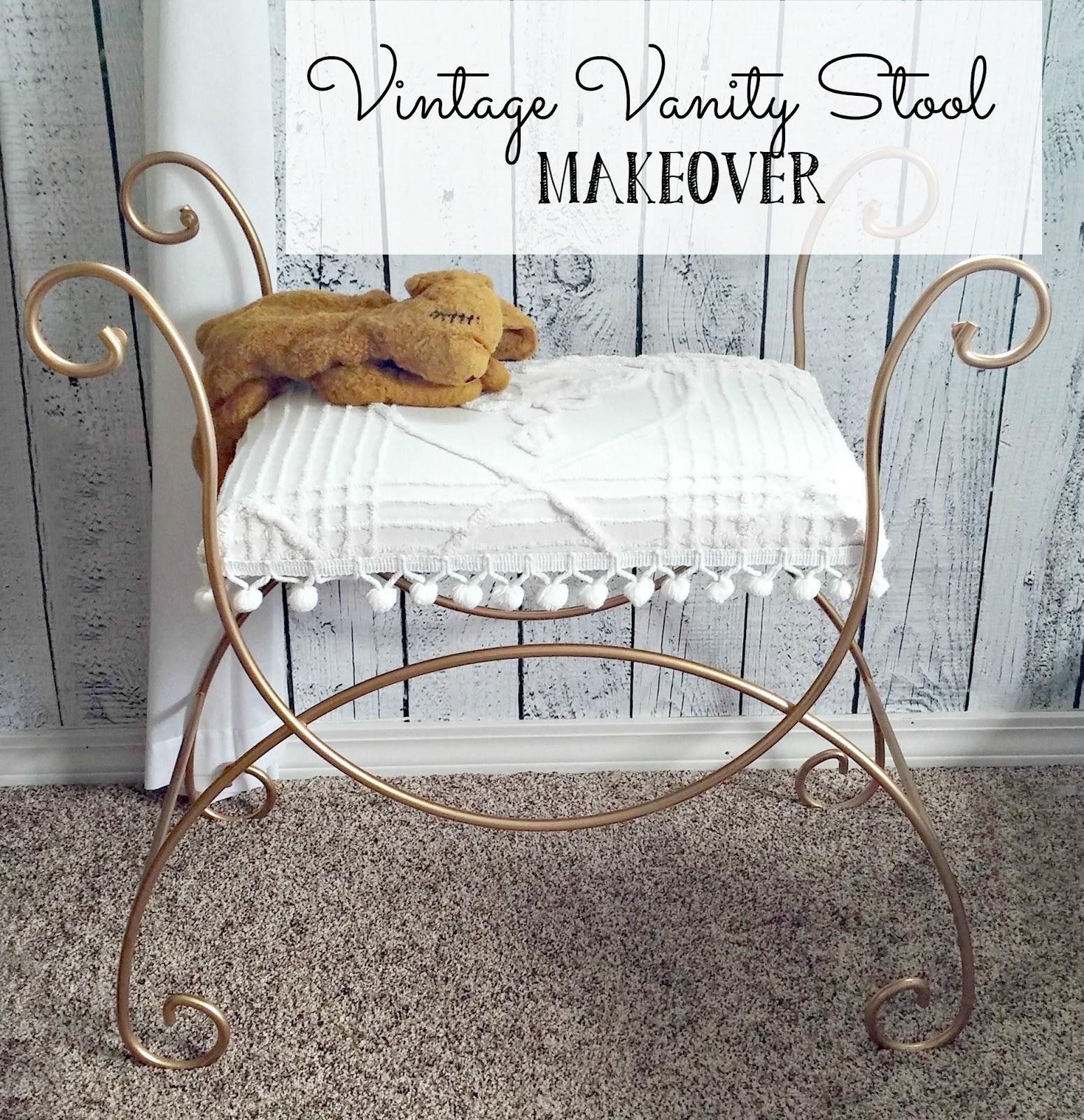 vintage vanity stool - Vintage Vanity Stool Makeover - Little Vintage Cottage