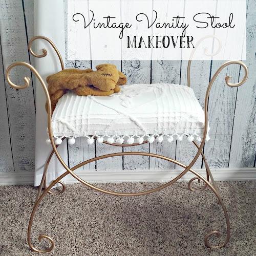 Vintage Vanity Stool Makeover