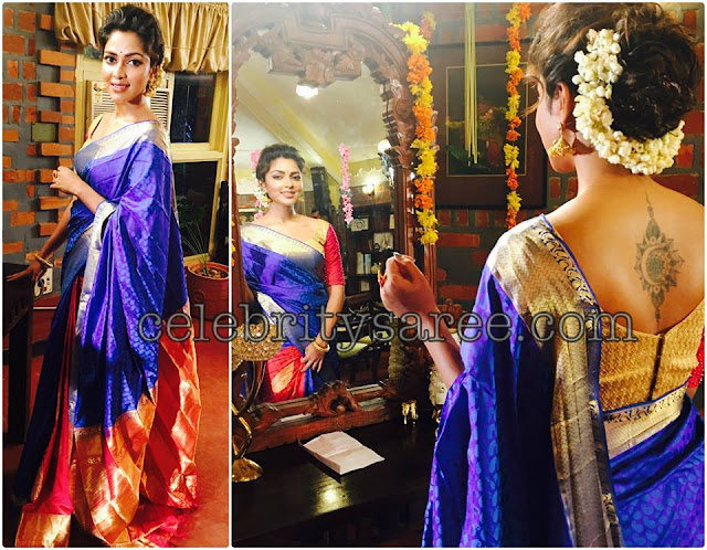 Amala Paul Purple Blue Silk Saree