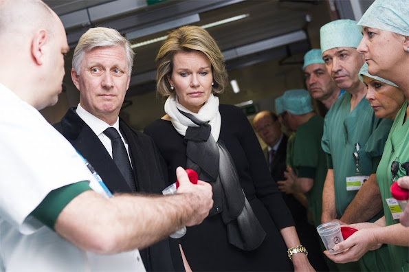 King Philippe of Belgium and Queen Mathilde of Belgium arrive at the 'Campus Gasthuisberg UZ