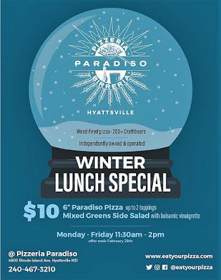 Pizzeria Paradiso Hyattsville Winter Lunch Special