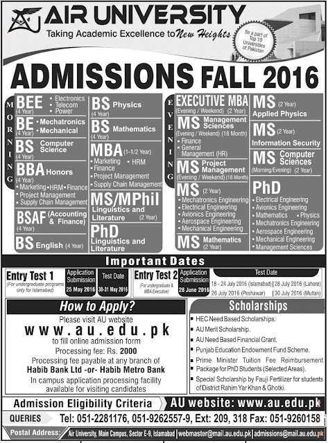 Air University Merit Scholar and Admission Open