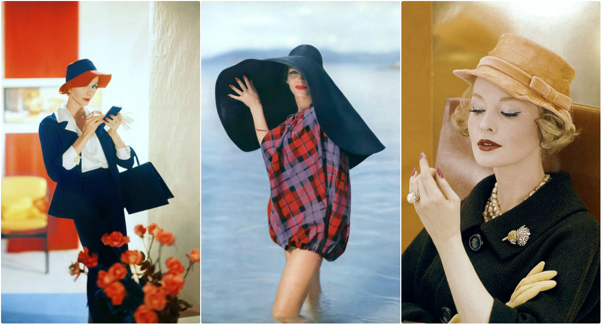 9708601ad036 40 Stunning Photos of 1950s Beauties Wearing Unique Hats Designed by ...