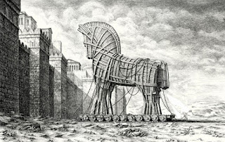 croquis désignant les soldats grecs tirant le cheval de bois remplis d'hommes cachés et qui arrivent devant les fortifications de la ville de Troie