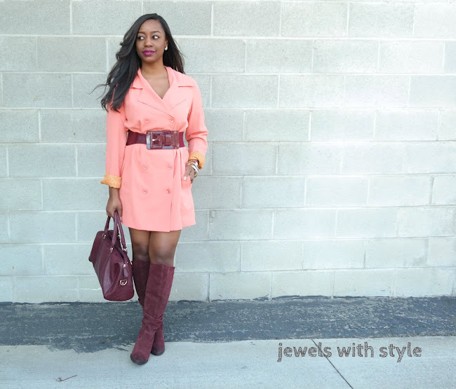 dressing with the color wheel, pink and red outfit, pink trench coat, pink and burgundy outfit,  how to use the color wheel, jewels with style, black fashion blogger, black style blogger, columbus blogger, ohio bloggers, columbus stylist, columbus wardrobe stylist, burgundy knee boots, belted coat outfit, how to belt a coa