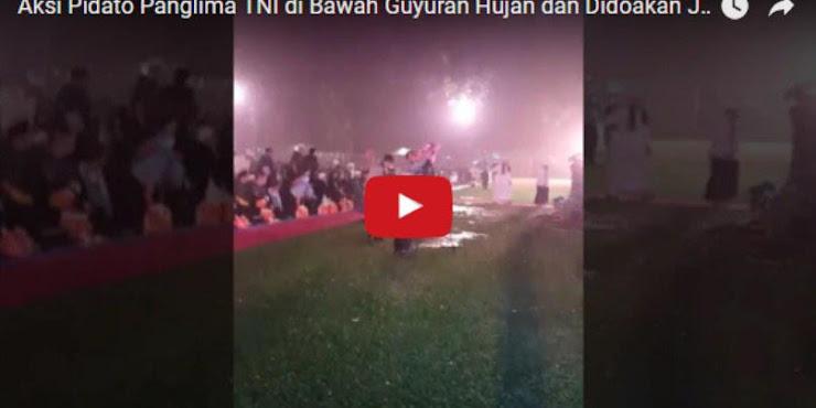 Merinding! Pidato Panglima TNI di Bawah Guyuran Hujan Doakan Ulama Jadi Presiden