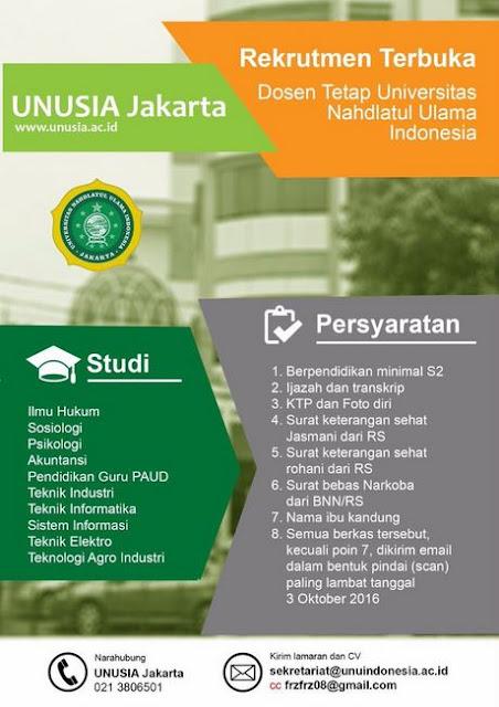 Lowongan Kerja Dosen Tetap Universitas Nahdlatul Ulama Indonesia Hingga 3 Oktober 2016