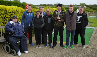 The Crazy Mini Golfers at the Arnold Palmer Putting Course, from l-r Steven Huckle, Richard Gottfried, Emily Gottfried, Eric Huckle, Alan Norman, Brad Shepherd, Seth Thomas, Chris Jones