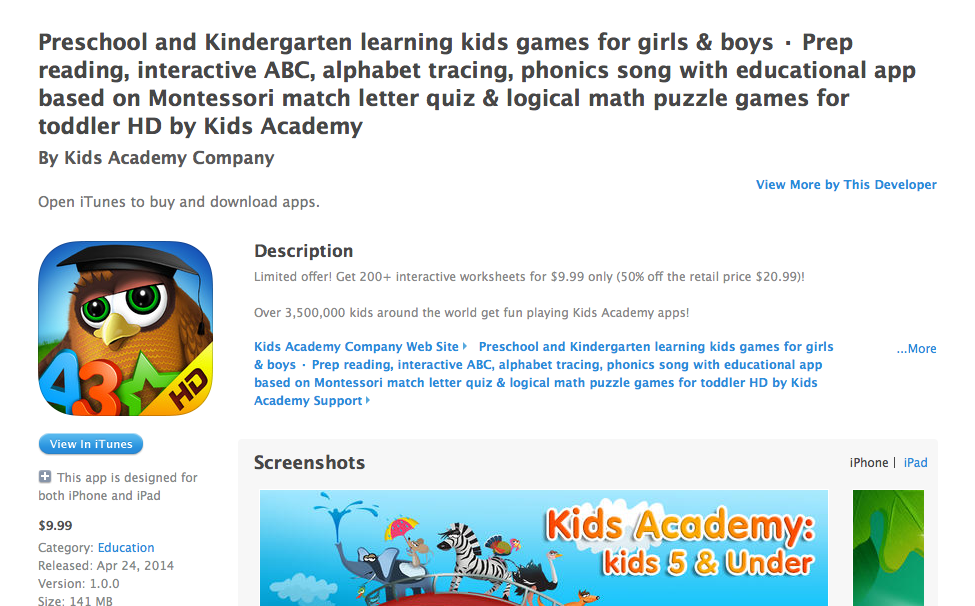 Kids Academy Company Preschool and Kindergarten learning kids' games for girls & boys : A Review by BeckyCharms 2014