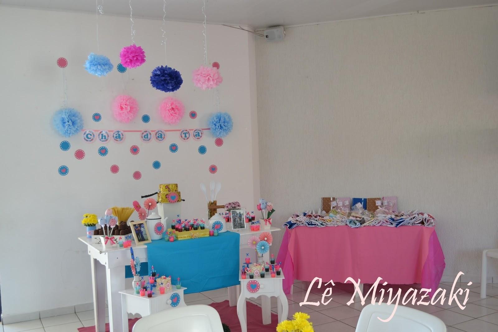 """""""Festa das Cores"""" Decoraç u00e3o Chá de Cozinha Rosa e Azul -> Decoração Para Outubro Rosa E Novembro Azul"""