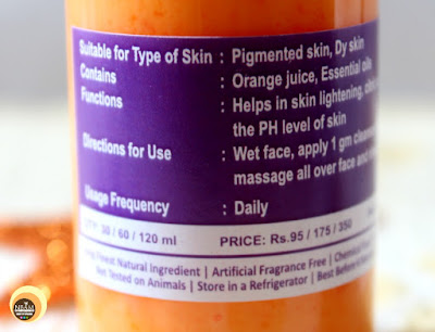 Ingredients of Aroma Essentials Orange Splash Face Wash