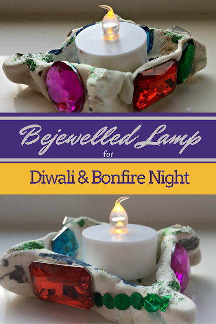 A hand-crafted bejewelled lamp to add some sparkle this Diwali. You can use it to shine bright on Bonfire Night as well.