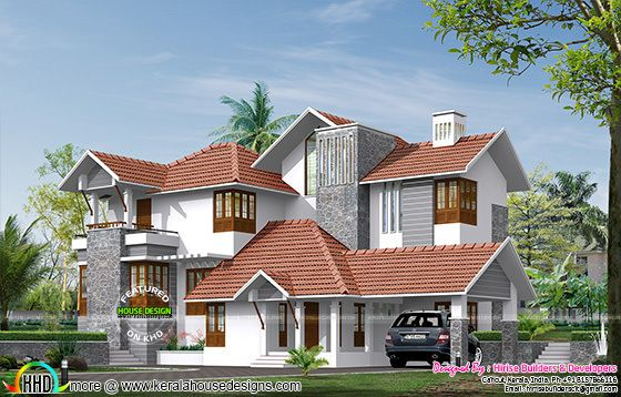 3100 sq-ft modern sloping roof house