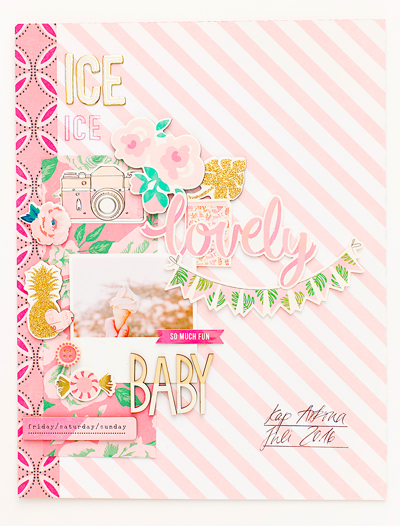pink scrapbook page @SandraDietrich for @CratePaper