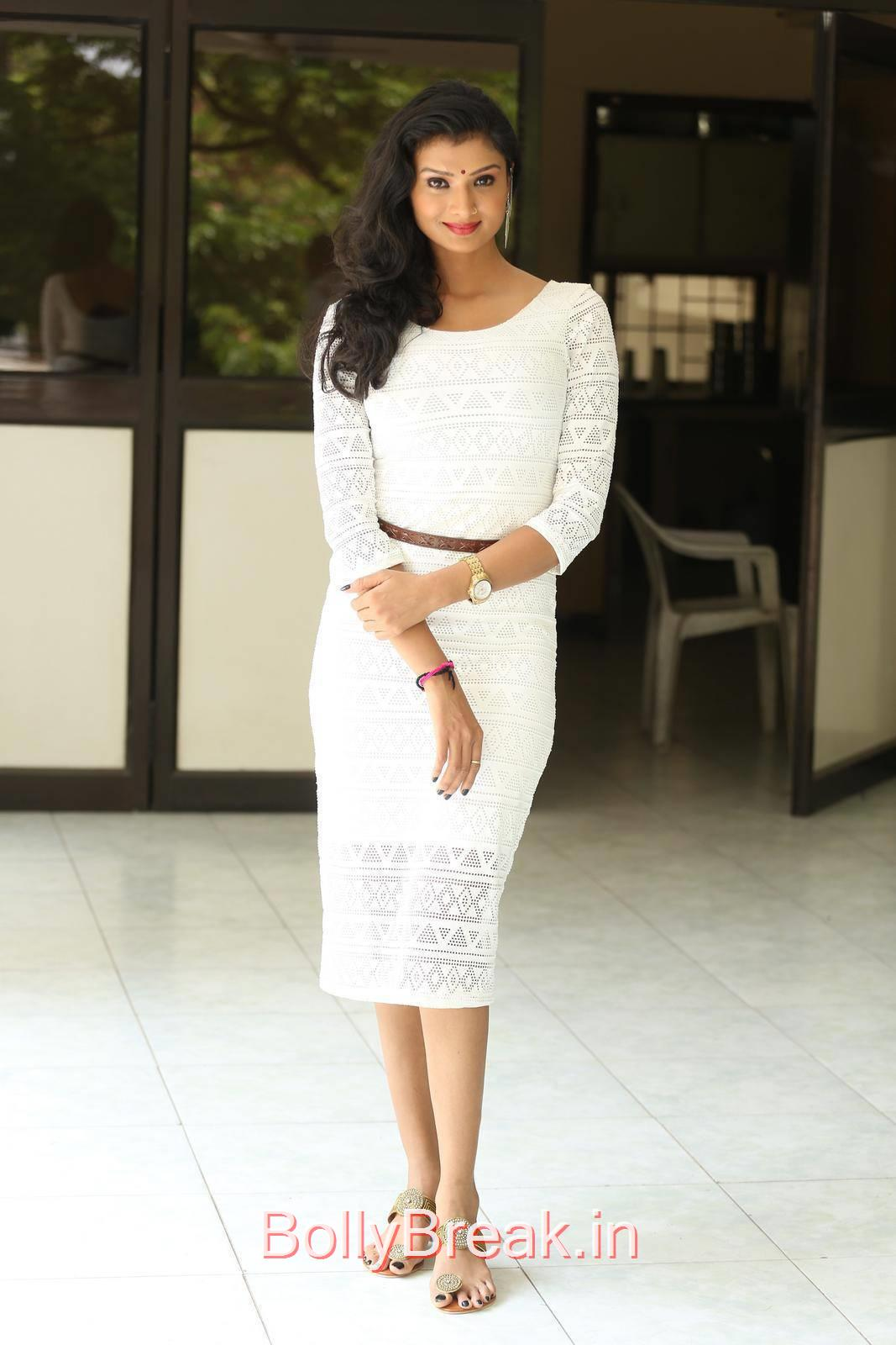 Ishita Stills in White Skirt, Actress Ishita Standing Full Size HD Hot Pics in White Dress