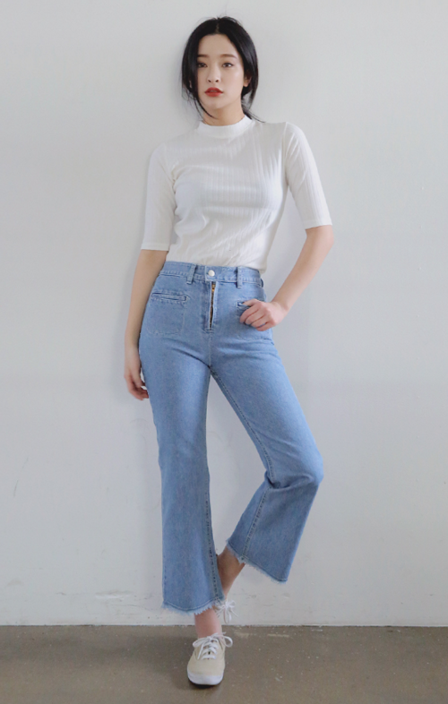 Welt Pocket Accent High Waist Jeans