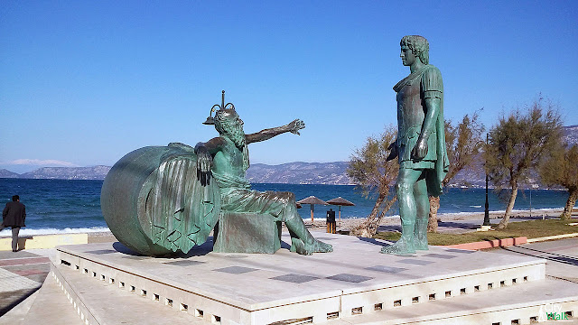 Statue of Diogenes with Alexander the Great in Corinth   Achilles Vasileiou
