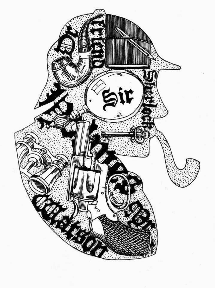 László Maya illusztrációja a vershez, Sherlock Holmes deerstalker sapkában, pipa, távcső, kulcs, pisztoly, lupa és dr. Watson motívumokkal.