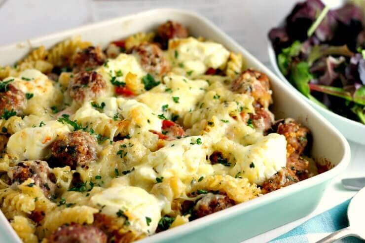 Spicy Sausage Meatball Pasta Bake