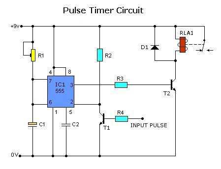 Pulse Timer Control Relay Circuit with IC555 Wiring Diagram Remote