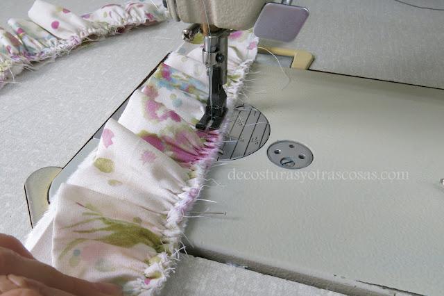 como coser sobre fruncido
