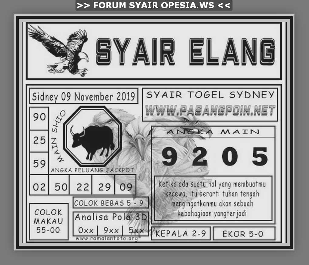Kode syair Sydney Sabtu 9 November 2019 11