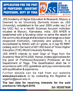 JSS Academy of Higher Education and Research, Mysore,Recruitment 2019 Professor/ Assistant Professor Job Notification