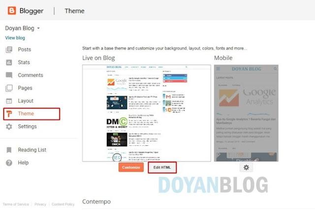 masuk dashboard blogger lalu edit html