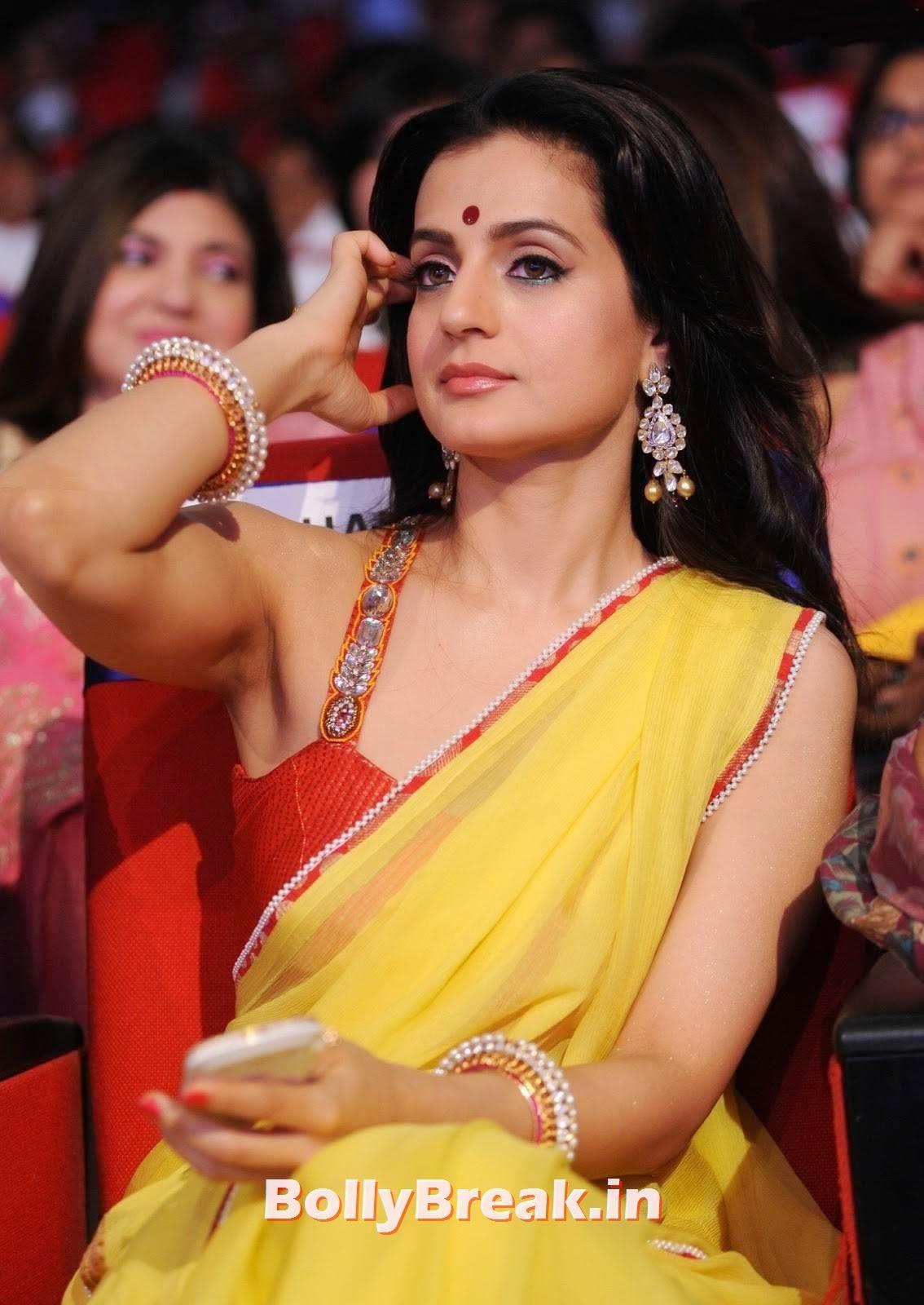 Amisha patel armpit in saree, Amisha Patel Latest hot Photos in Yellow Saree from Event