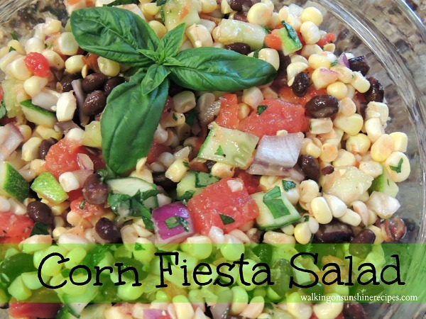 Corn Fiesta Salad is colorful and delicious from Walking on Sunshine.