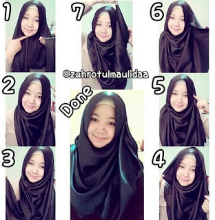 tutorial hijab pashmina satin simple