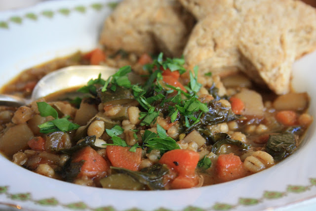 Vegetarian Kale and barley stew is thick, hearty and full of chewy sweet barley
