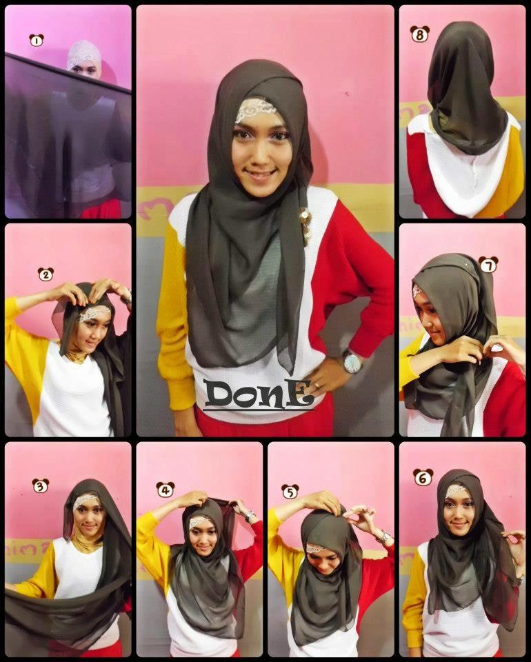model jilbab segi empat untuk sekolah