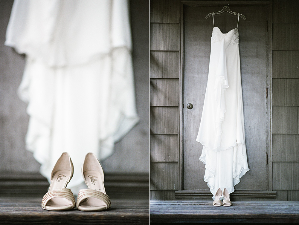Wedding, gown, dress, shoes, hanging, fine art photography