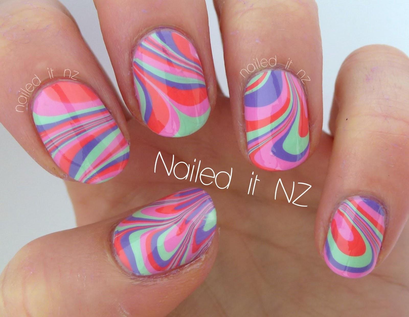 Water marble nail art tutorial.