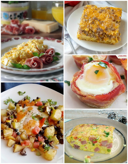 collage of egg based breakfast dishes