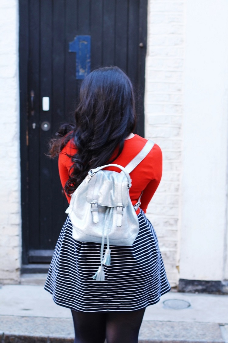 Silver backpack - London fashion blogger Emma Louise Layla