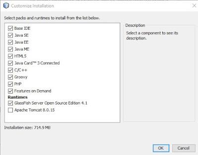 mengcostumize instal netbeans di laptop dengan memilih yang akan diinstal yang mana saja