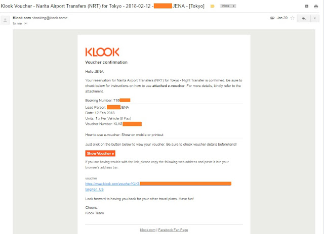 klook voucher confirmation for booking