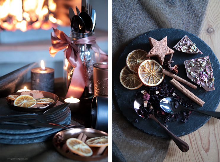 home decor: christmas an new year's eve table black copper