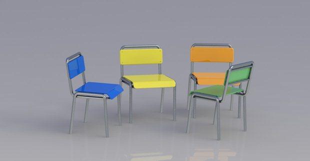 composición de 4 sillas en perspectiva